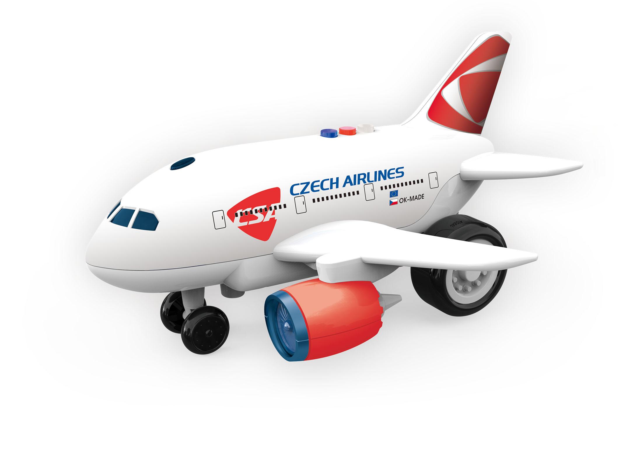 Letadlo ČSA s hlášením kapitána a letušky, na setrvačník
